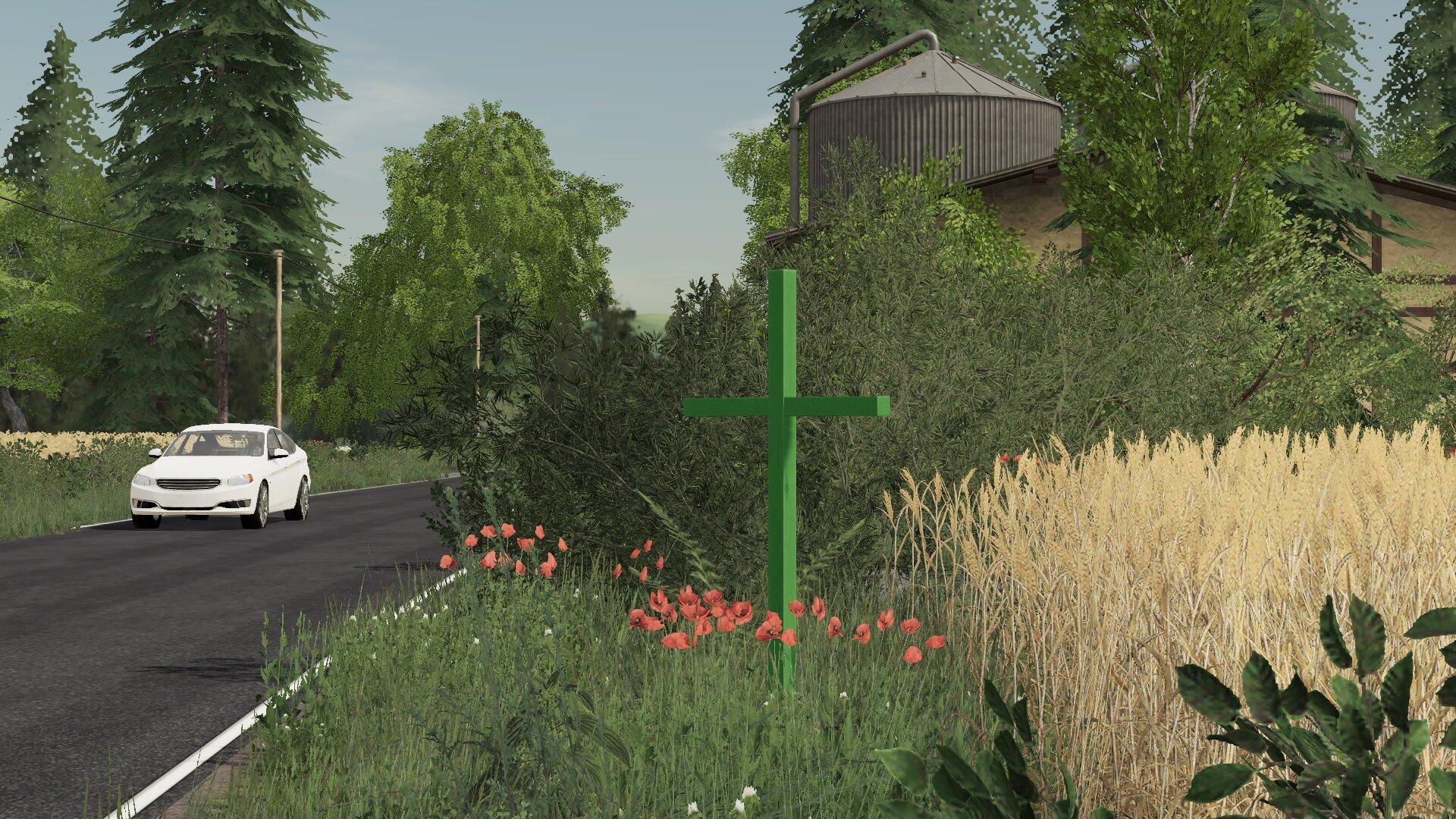 Grünes Kreuz Auf Feldern
