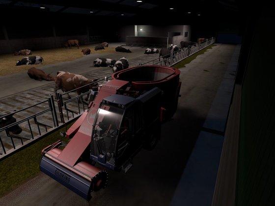 Rinder füttern selbst bei Nacht