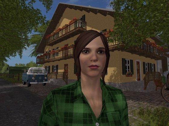 Lea vor ihrem Bauernhaus
