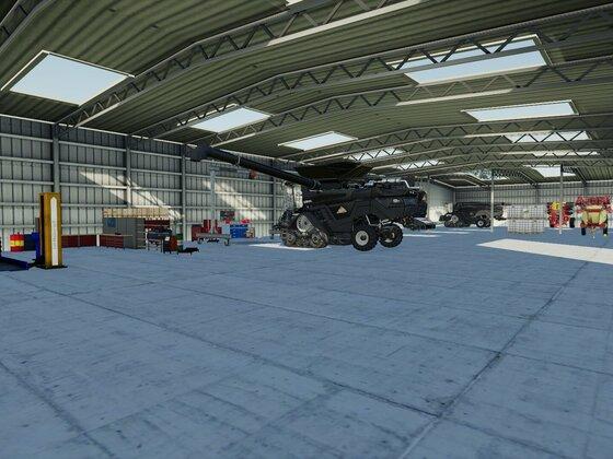 Fahrzeughalle mit Startfahrzeuge